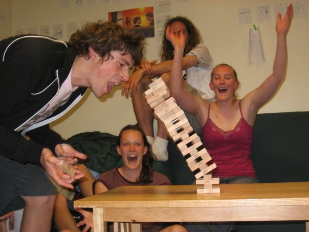 Ian playing Jenga